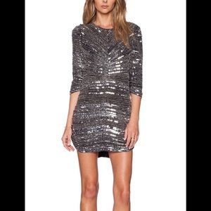 Parker Dresses - NWT Parker Petra metallic silver sequin dress